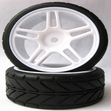 5 Star White 1/10 Scale On-Road Wheels and Tires Set