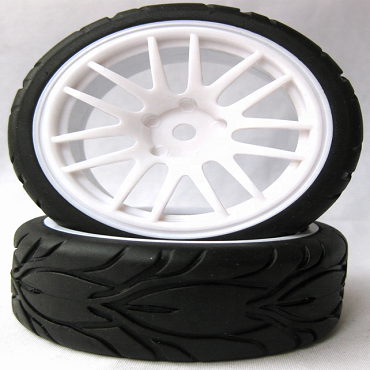 14 Spoke White 1/10 Scale On-Road Wheels and Tires Set