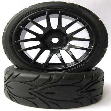 14 Spoke Black 1/10 Scale On-Road Wheels and Tires Set