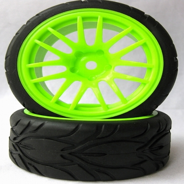 14 Spoke Green 1/10 Scale On-Road Wheels and Tires Set