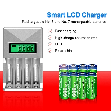 LCD Smart Rapid AA- AAA Battery Charger 4 Slots