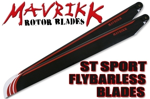 Mavrikk 430mm ST Sport Flybarless Main Blades (Black)