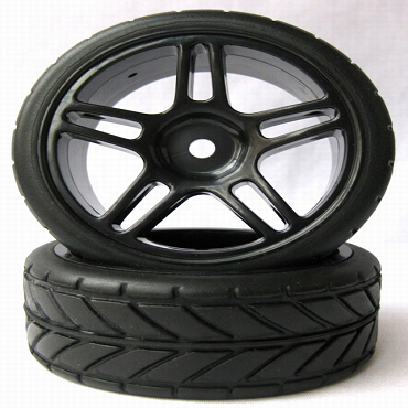 5 Star Black 1/10 Scale On-Road Wheels and Tires Set