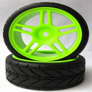 5 Star Green 1/10 Scale On-Road Wheels and Tires Set